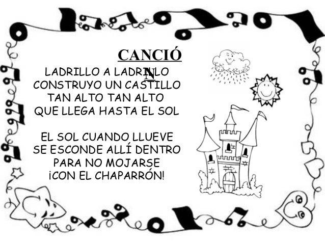 CANCIÓ LADRILLO A LADRILLO                NCONSTRUYO UN CASTILLO  TAN ALTO TAN ALTOQUE LLEGA HASTA EL SOL EL SOL CUANDO LL...