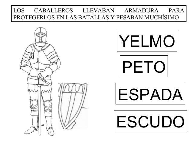 LOS   CABALLEROS    LLEVABAN    ARMADURA     PARAPROTEGERLOS EN LAS BATALLAS Y PESABAN MUCHÍSIMO                          ...