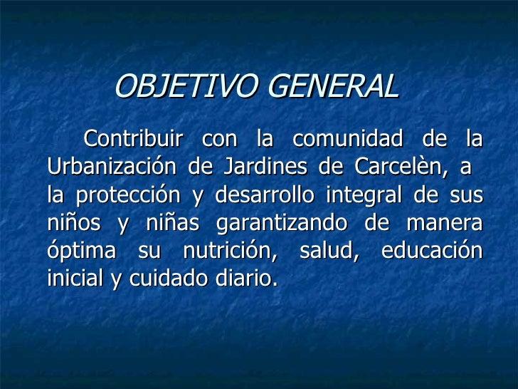 Proyecto centro infantil for Objetivo general de un vivero
