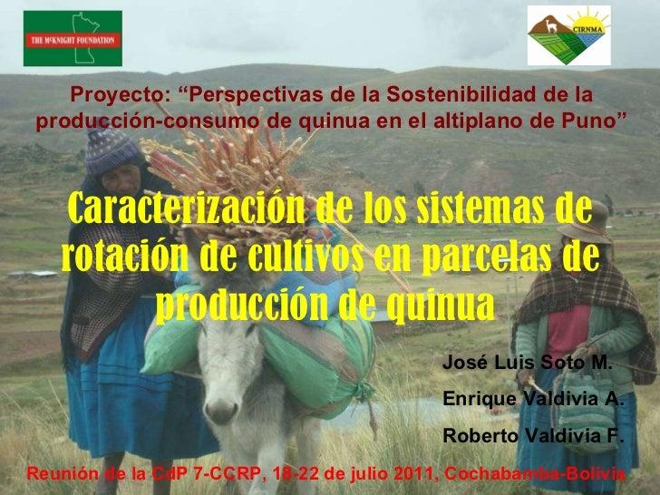 Caracterización de los sistemas de rotación de cultivos en parcelas de producción de quinua  Reunión de la CdP 7-CCRP, 18-...