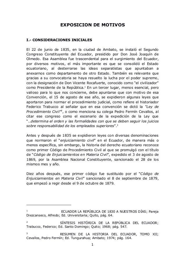 1 EXPOSICION DE MOTIVOS I.- CONSIDERACIONES INICIALES El 22 de junio de 1835, en la ciudad de Ambato, se instaló el Segund...