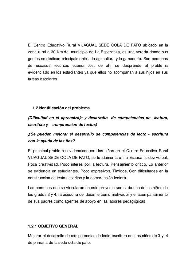 El Centro Educativo Rural VIJAGUAL SEDE COLA DE PATO ubicado en la zona rural a 30 Km del municipio de La Esperanza, es un...
