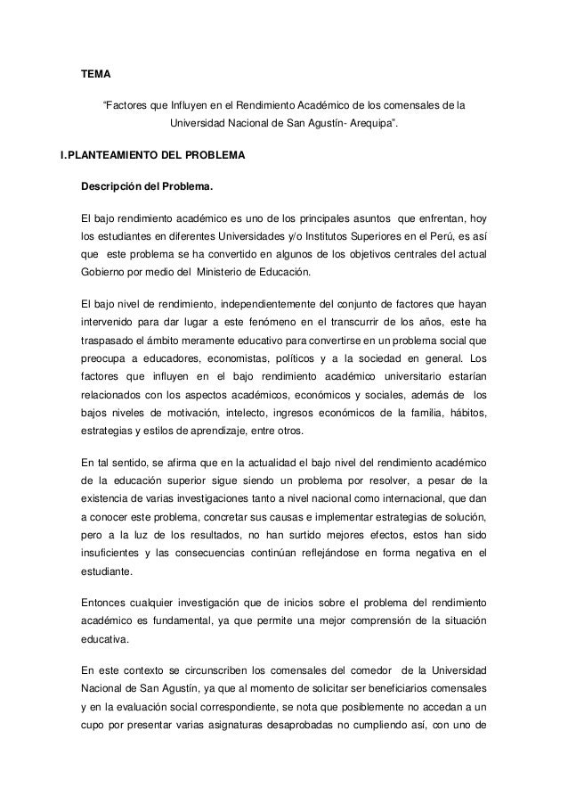 """TEMA """"Factores que Influyen en el Rendimiento Académico de los comensales de la Universidad Nacional de San Agustín- Arequ..."""