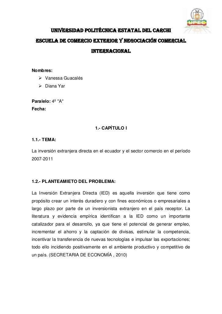 UNIVERSIDAD POLITÉCNICA ESTATAL DEL CARCHI  ESCUELA DE COMERCIO EXTERIOR Y NEGOCIACIÓN COMERCIAL                          ...