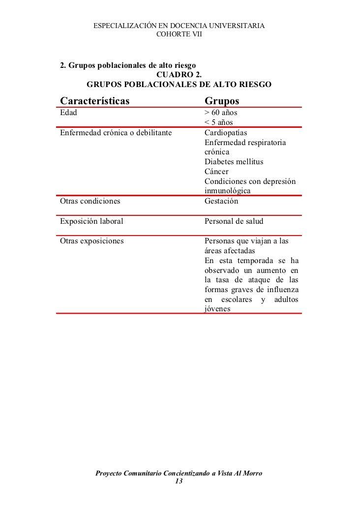 ESPECIALIZACIÓN EN DOCENCIA UNIVERSITARIA                         COHORTE VII    2. Grupos poblacionales de alto riesgo   ...