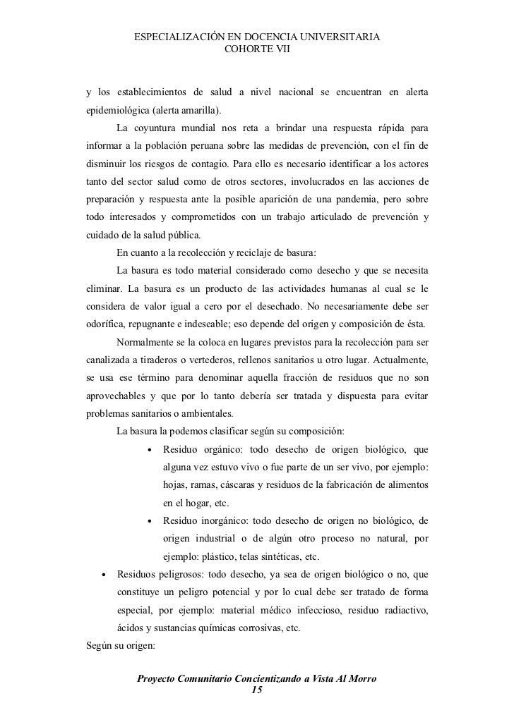 ESPECIALIZACIÓN EN DOCENCIA UNIVERSITARIA                           COHORTE VII    y los establecimientos de salud a nivel...