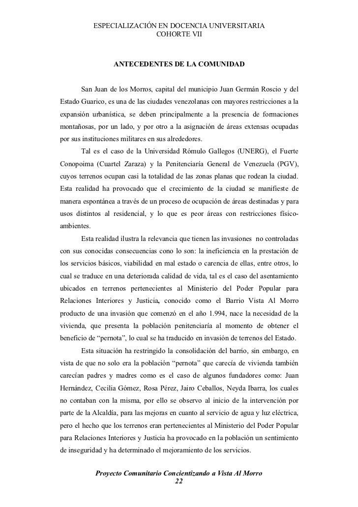 ESPECIALIZACIÓN EN DOCENCIA UNIVERSITARIA                             COHORTE VII                       ANTECEDENTES DE LA...