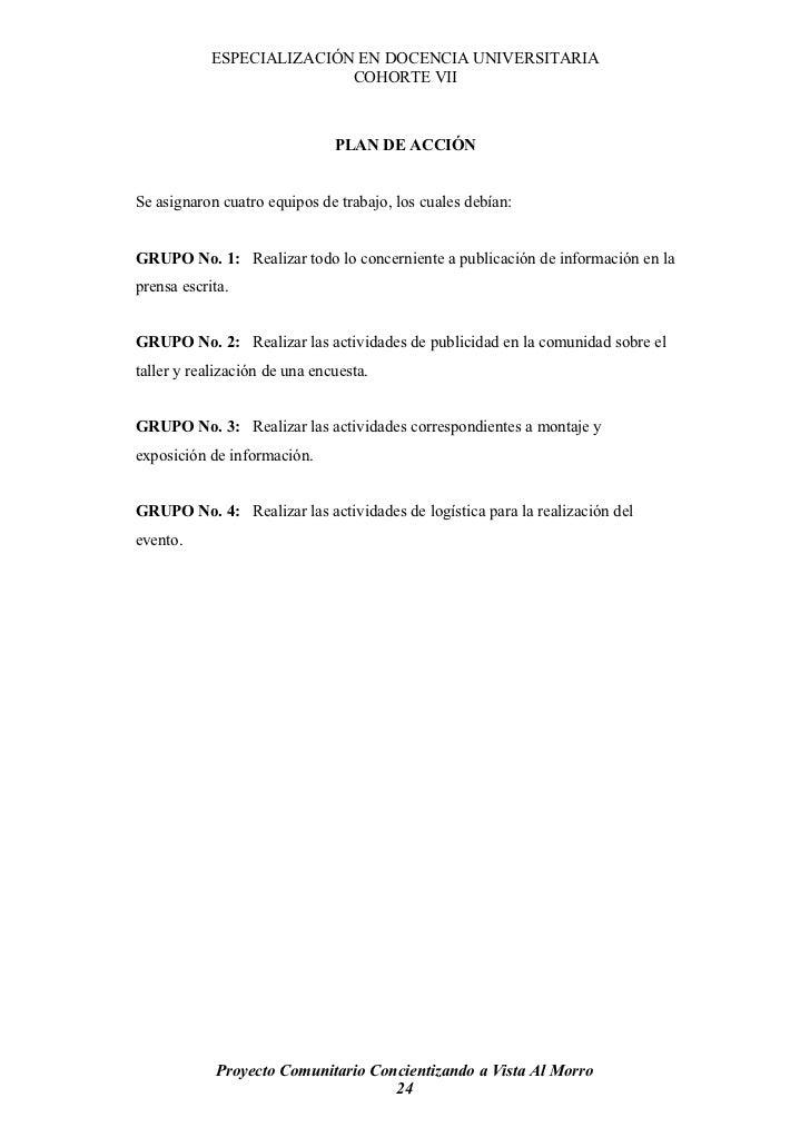 ESPECIALIZACIÓN EN DOCENCIA UNIVERSITARIA                            COHORTE VII                                   PLAN DE...