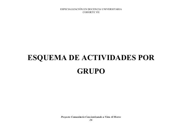ESPECIALIZACIÓN EN DOCENCIA UNIVERSITARIA                      COHORTE VII     ESQUEMA DE ACTIVIDADES POR                 ...