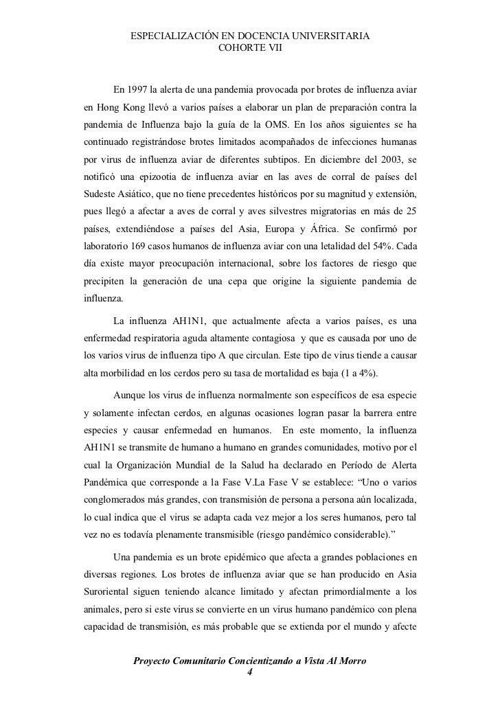 ESPECIALIZACIÓN EN DOCENCIA UNIVERSITARIA                             COHORTE VII           En 1997 la alerta de una pande...