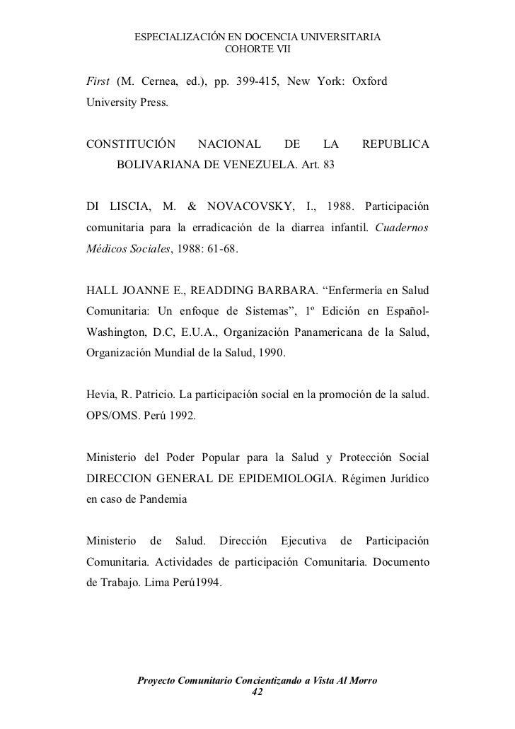 ESPECIALIZACIÓN EN DOCENCIA UNIVERSITARIA                          COHORTE VII   First (M. Cernea, ed.), pp. 399-415, New ...