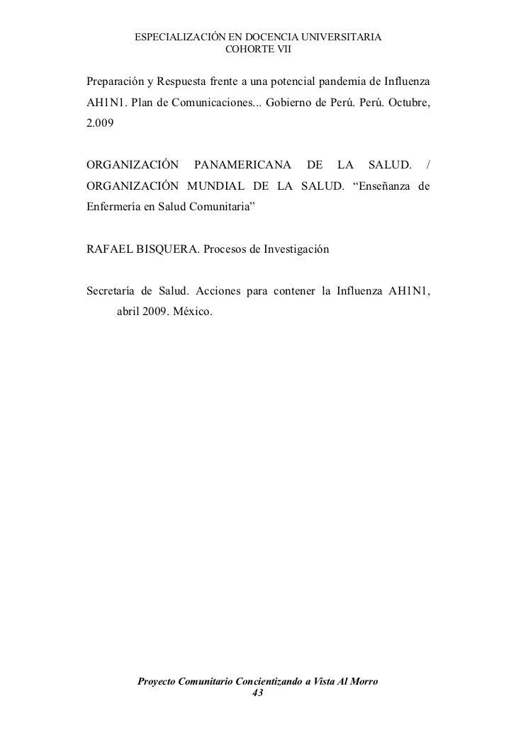 ESPECIALIZACIÓN EN DOCENCIA UNIVERSITARIA                           COHORTE VII   Preparación y Respuesta frente a una pot...
