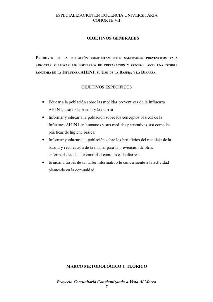 ESPECIALIZACIÓN EN DOCENCIA UNIVERSITARIA                           COHORTE VII                                  OBJETIVOS...