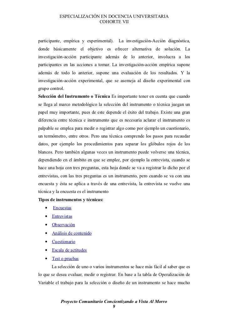 ESPECIALIZACIÓN EN DOCENCIA UNIVERSITARIA                           COHORTE VII    participante, empírica y experimental)....