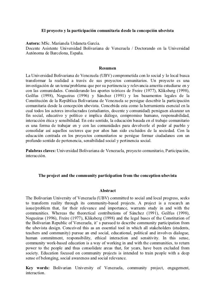 El proyecto y la participación comunitaria desde la concepción ubevistaAutora: MSc. Marianela Urdaneta García.Docente Asis...