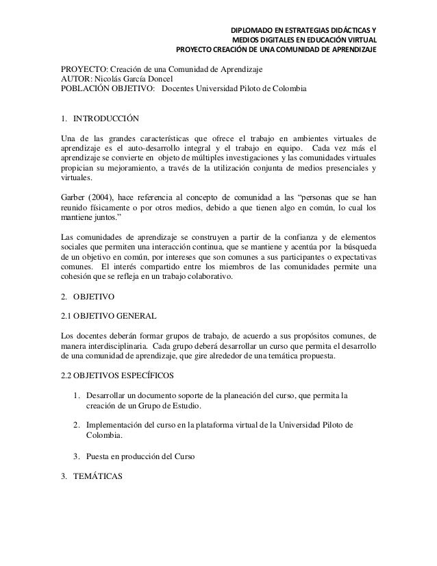 DIPLOMADO EN ESTRATEGIAS DIDÁCTICAS Y MEDIOS DIGITALES EN EDUCACIÓN VIRTUAL PROYECTO CREACIÓN DE UNA COMUNIDAD DE APRENDIZ...