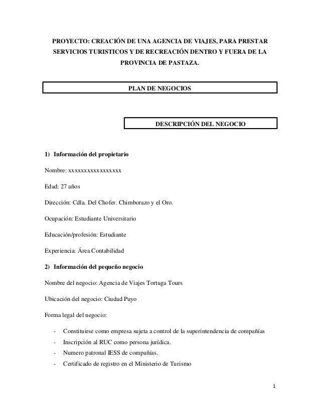 PROYECTO: CREACIÓN DE UNA AGENCIA DE VIAJES, PARA PRESTAR SERVICIOS TURISTICOS Y DE RECREACIÓN DENTRO Y FUERA DE LA PROVIN...