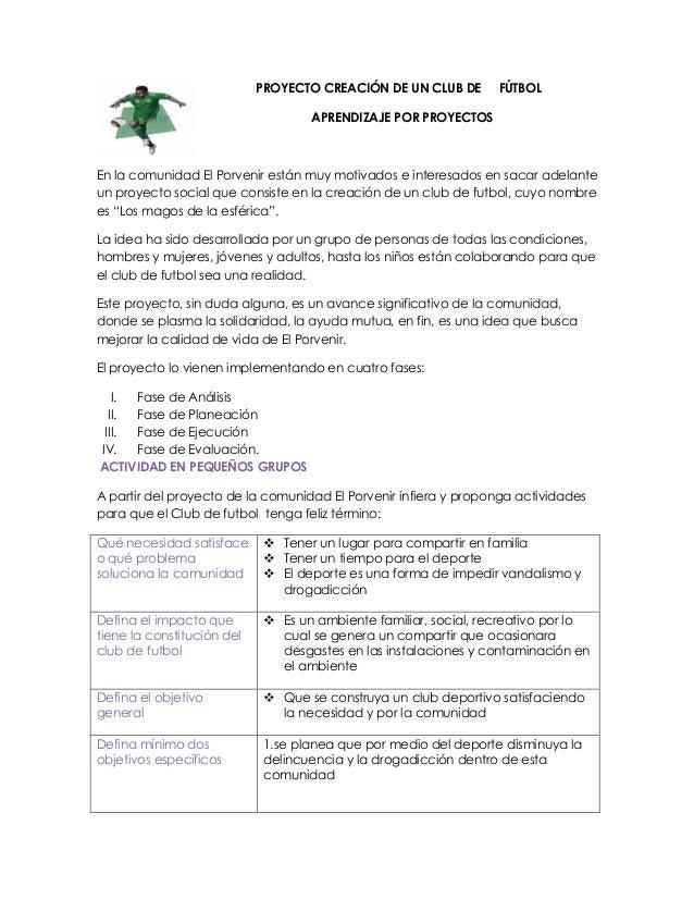 Proyecto De Aprendizaje Creacion Del Club De Futbol