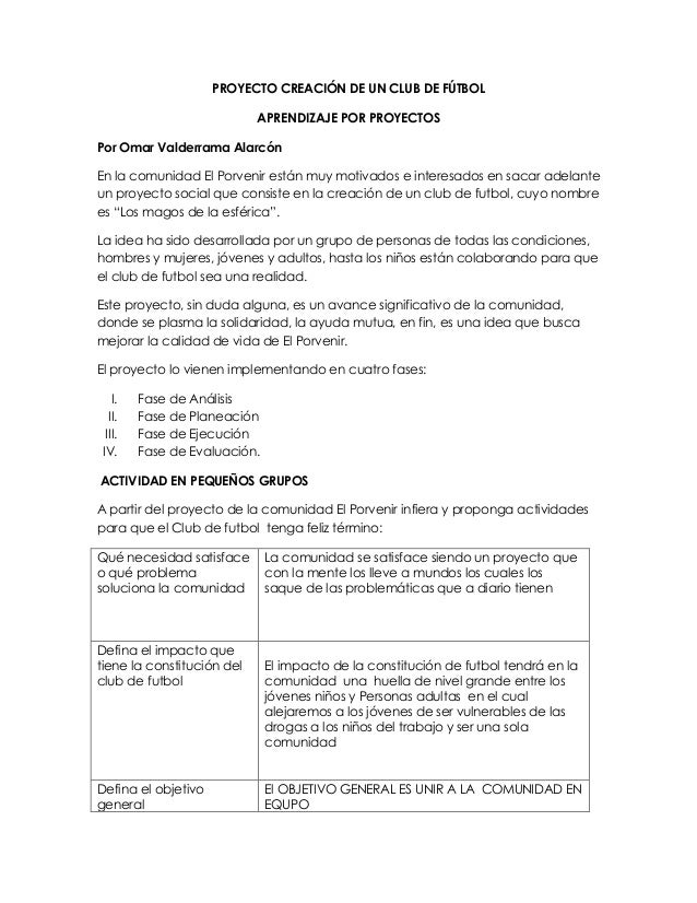 PROYECTO CREACIÓN DE UN CLUB DE FÚTBOL APRENDIZAJE POR PROYECTOS Por Omar Valderrama Alarcón En la comunidad El Porvenir e...