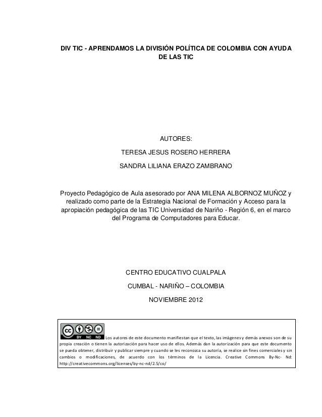 DIV TIC - APRENDAMOS LA DIVISIÓN POLÍTICA DE COLOMBIA CON AYUDA                            DE LAS TIC                     ...