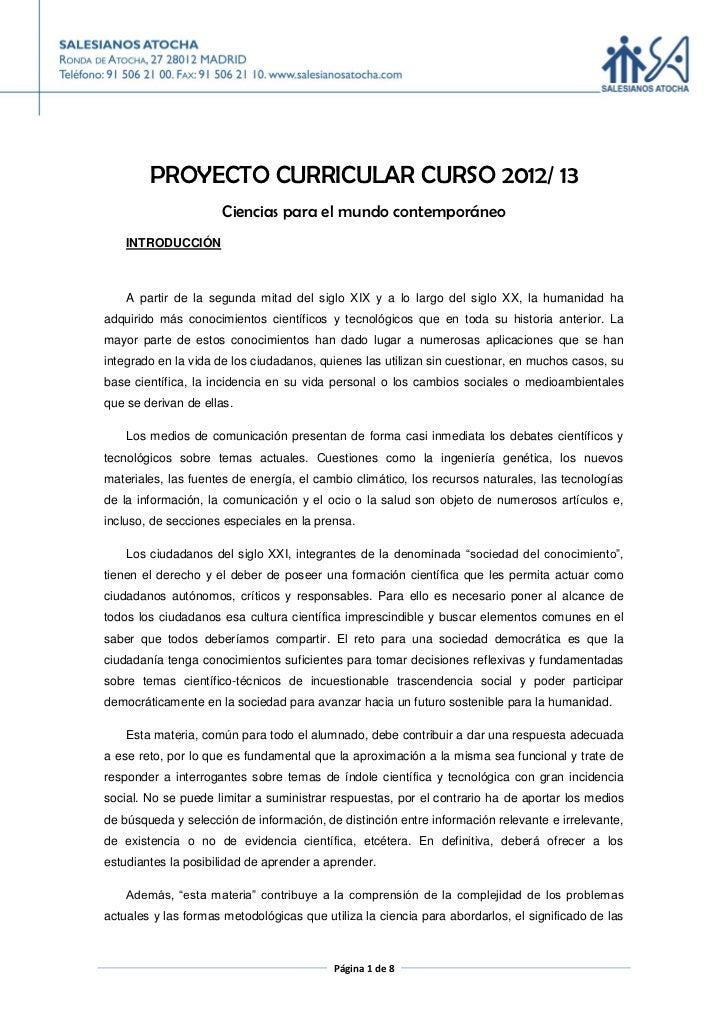 PROYECTO CURRICULAR CURSO 2012/ 13                      Ciencias para el mundo contemporáneo    INTRODUCCIÓN    A partir d...