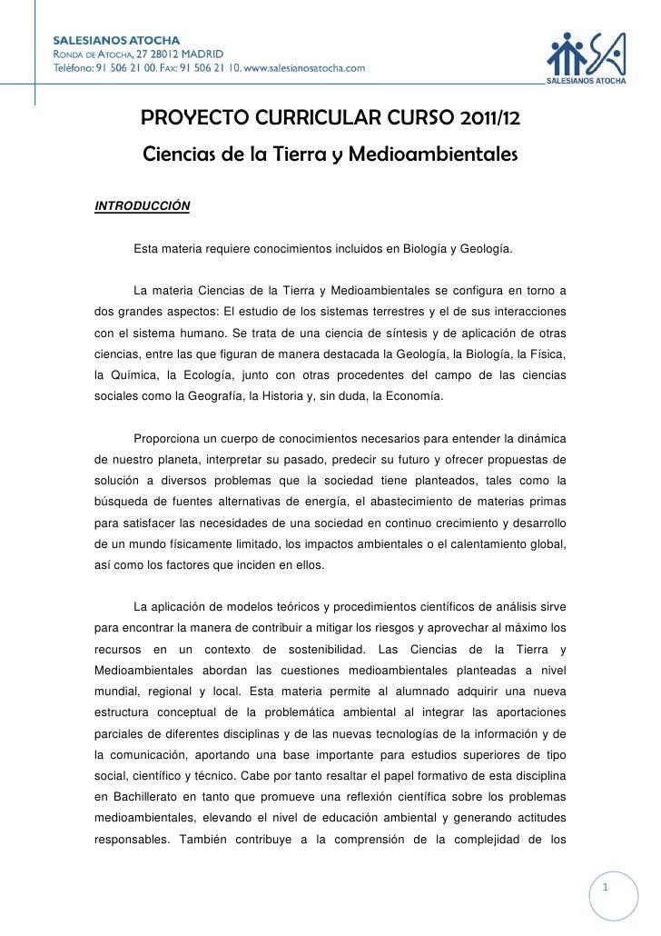 PROYECTO CURRICULAR CURSO 2011/12         Ciencias de la Tierra y MedioambientalesINTRODUCCIÓN       Esta materia requiere...