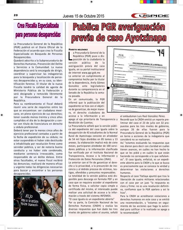 Jueves 15 de Octubre 201520 Publica PGR averiguación previa de caso Ayotzinapa Robeto meléndez La Procuraduría General de ...
