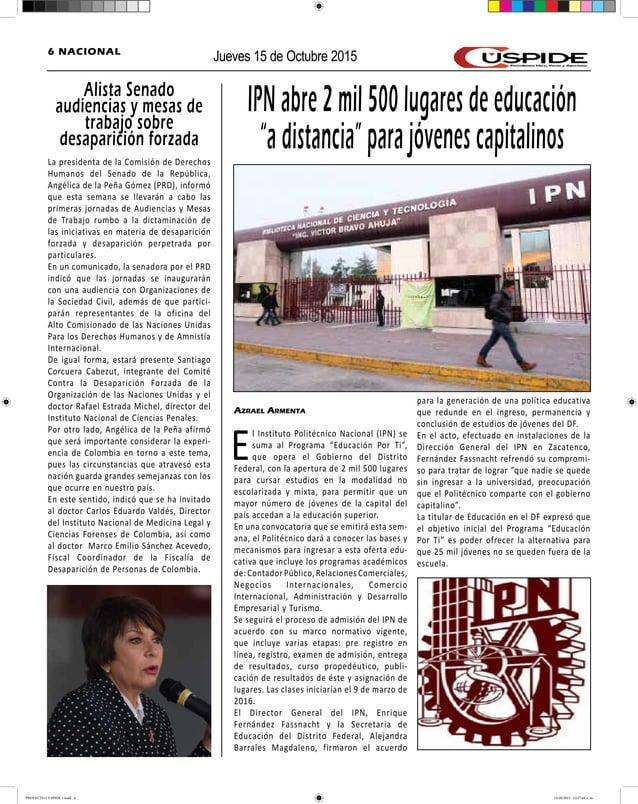 """Jueves 15 de Octubre 20156 NACIONAL IPN abre 2 mil 500 lugares de educación """"a distancia"""" para jóvenes capitalinos Azrael ..."""