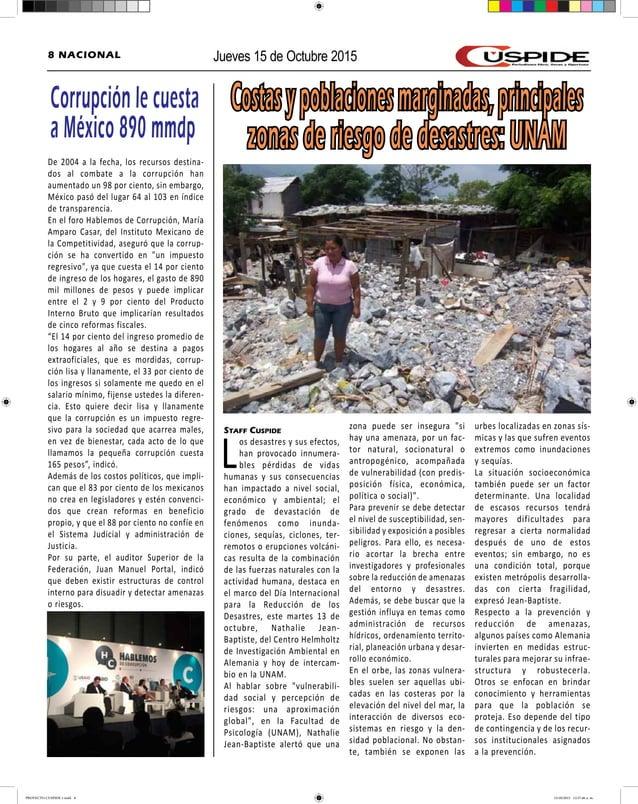 Jueves 15 de Octubre 20158 NACIONAL Costasypoblacionesmarginadas,principales zonas de riesgo de desastres: UNAM Staff Cusp...