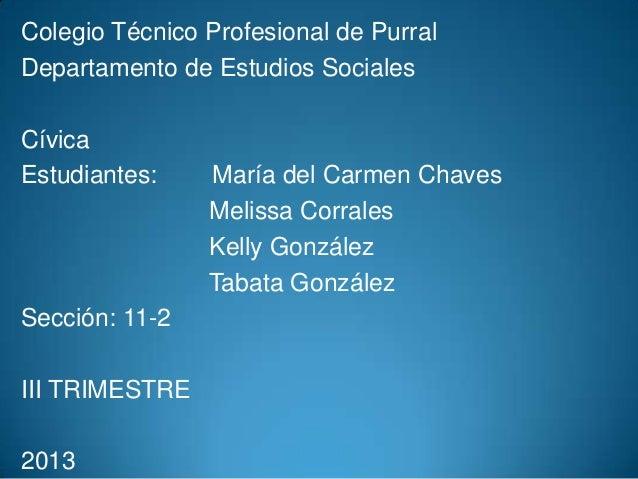 Colegio Técnico Profesional de Purral Departamento de Estudios Sociales Cívica Estudiantes:  Sección: 11-2  III TRIMESTRE ...