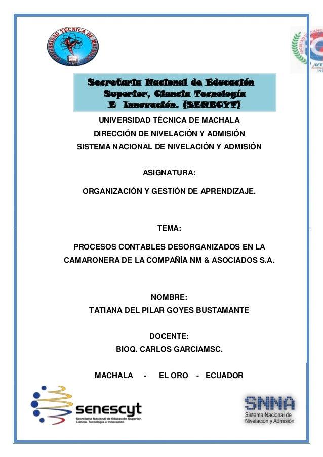 Secretaria Nacional de Educación Superior, Ciencia Tecnología E Innovación. (SENECYT) UNIVERSIDAD TÉCNICA DE MACHALA DIREC...
