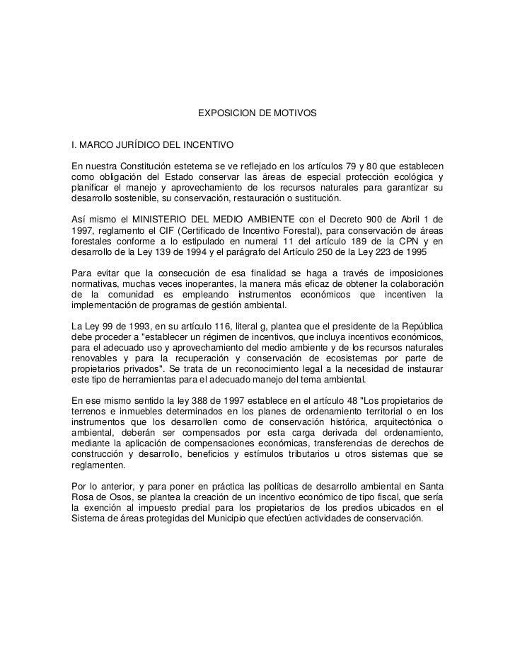 EXPOSICION DE MOTIVOSI. MARCO JURÍDICO DEL INCENTIVOEn nuestra Constitución estetema se ve reflejado en los artículos 79 y...