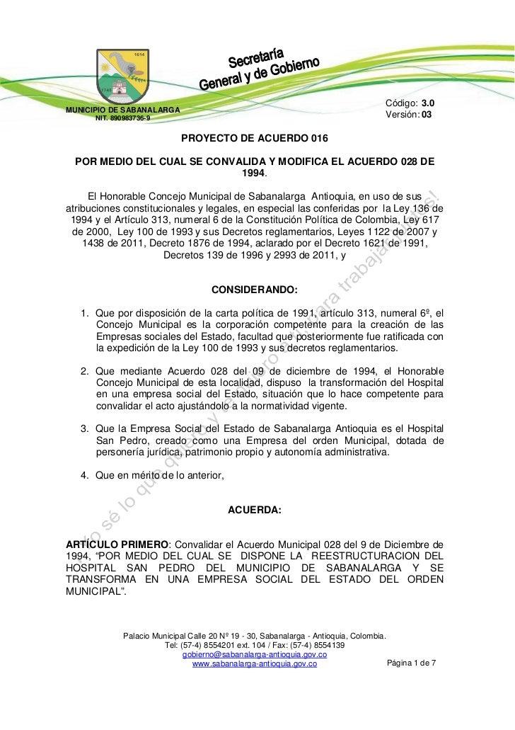Código: 3.0MUNICIPIO DE SAB AN AL AR G A       NIT. 890983736-9                                                           ...