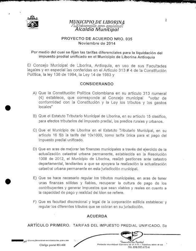 MUNICIPIO DE LIBORRIINNA  úaft.cíl  Alcaldía MunTcTpal  PROYECTO DE ACUERDO NRO. 035  Noviembre de 2014  Por medio del cua...