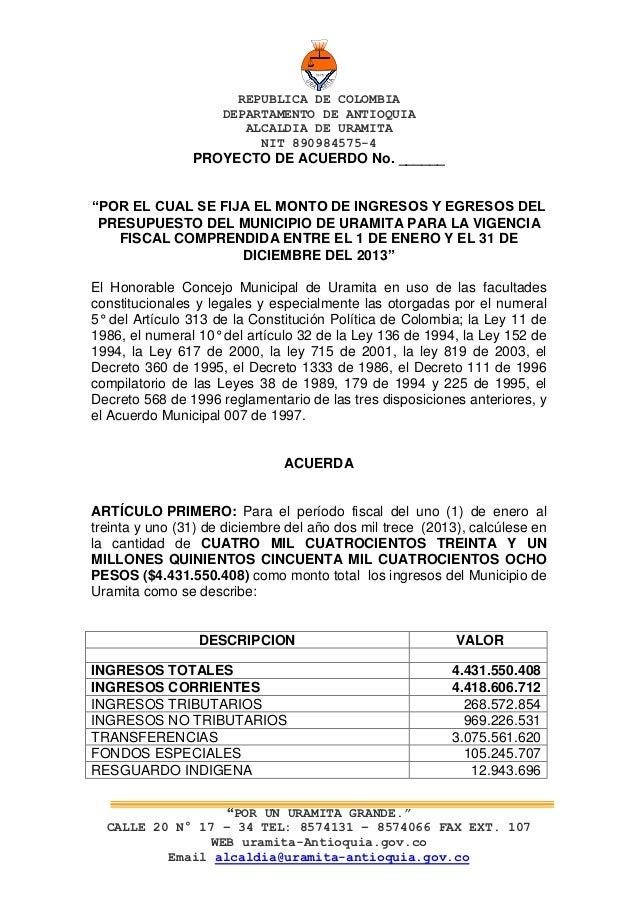 REPUBLICA DE COLOMBIA                     DEPARTAMENTO DE ANTIOQUIA                        ALCALDIA DE URAMITA            ...