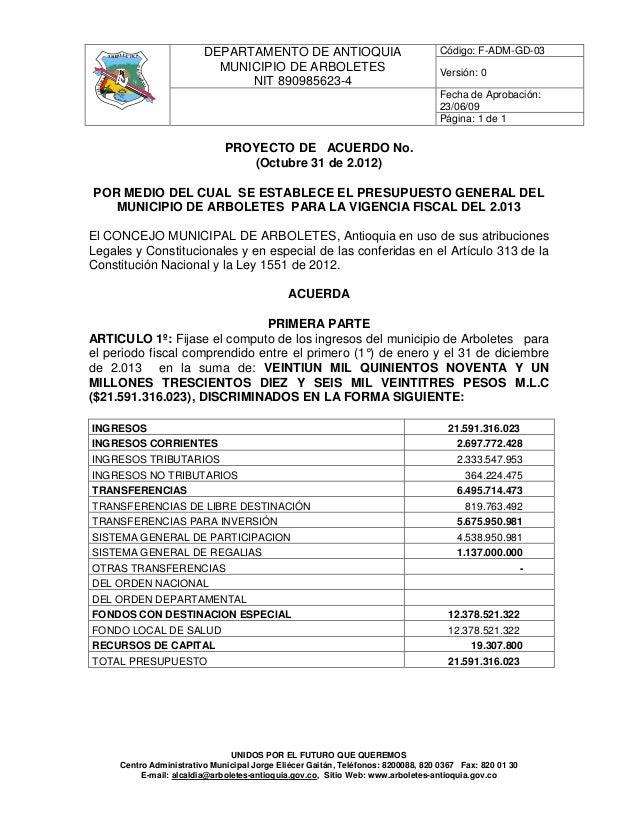 A R B OLETES             DEPARTAMENTO DE ANTIOQUIA                                Código: F-ADM-GD-03                     ...