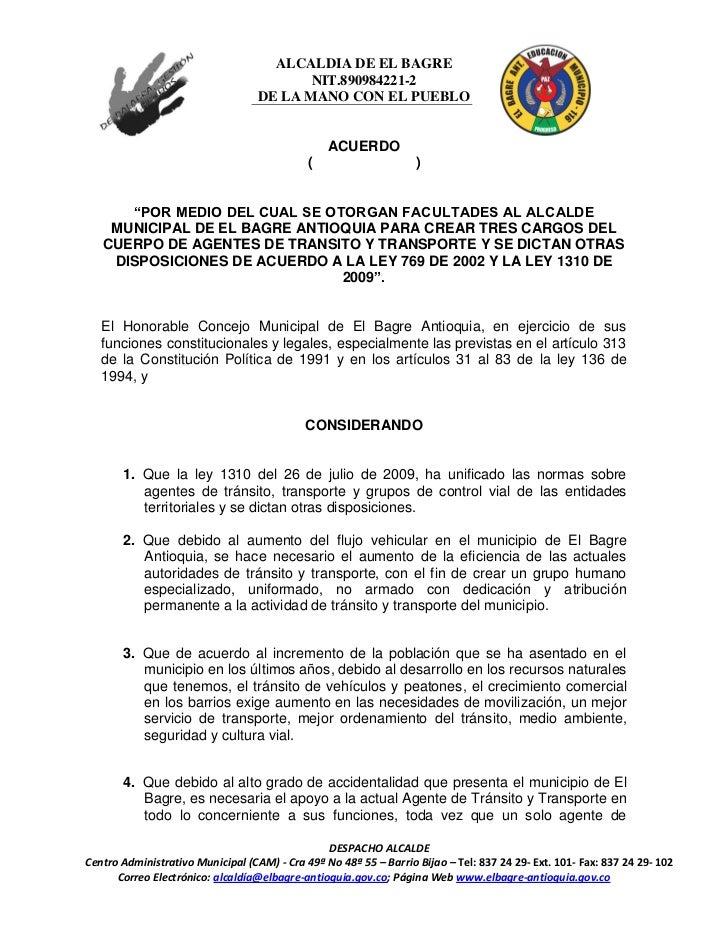 ALCALDIA DE EL BAGRE                                          NIT.890984221-2                                   DE LA MANO...