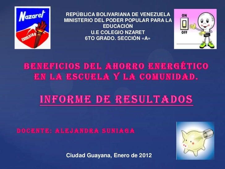 REPÚBLICA BOLIVARIANA DE VENEZUELA          MINISTERIO DEL PODER POPULAR PARA LA                        EDUCACIÓN         ...