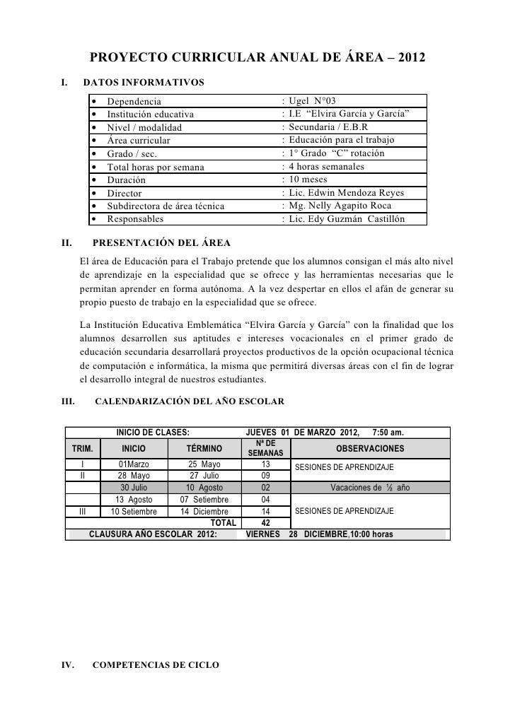 PROYECTO CURRICULAR ANUAL DE ÁREA – 2012I.      DATOS INFORMATIVOS            •   Dependencia                           : ...