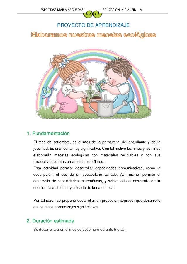 Proyecto de aprendizaje setiembre for Modelo de proyecto de plantas ornamentales