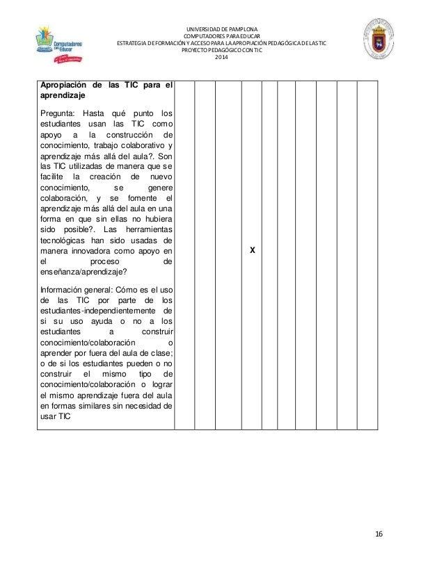 UNIVERSIDAD DEPAMPLONA COMPUTADORES PARA EDUCAR ESTRATEGIA DEFORMACIÓN YACCESO PARA LAAPROPIACIÓN PEDAGÓGICADELAS TIC PROY...