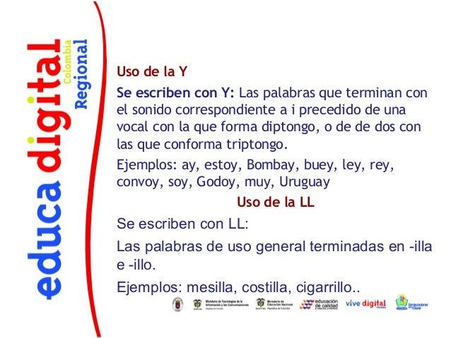 Uso de la YSe escriben con Y: Las palabras que terminan conel sonido correspondiente a i precedido de unavocal con la que ...