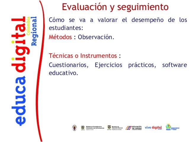 Evaluación y seguimientoCómo se va a valorar el desempeño de losestudiantes:Métodos : Observación.Técnicas o Instrumentos ...