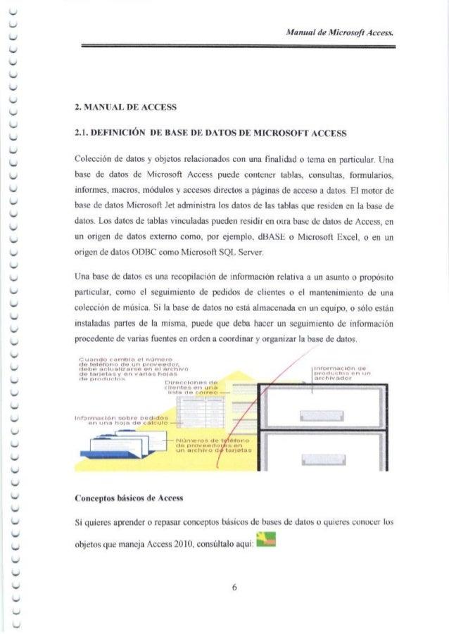 Manual de Microsofl Access. 2. MANUAL DE ACCESS 2.1. Df,,FINICION DE BASE DE DATOS Df, MICROSOFT ACCESS Colecci6n de datos...