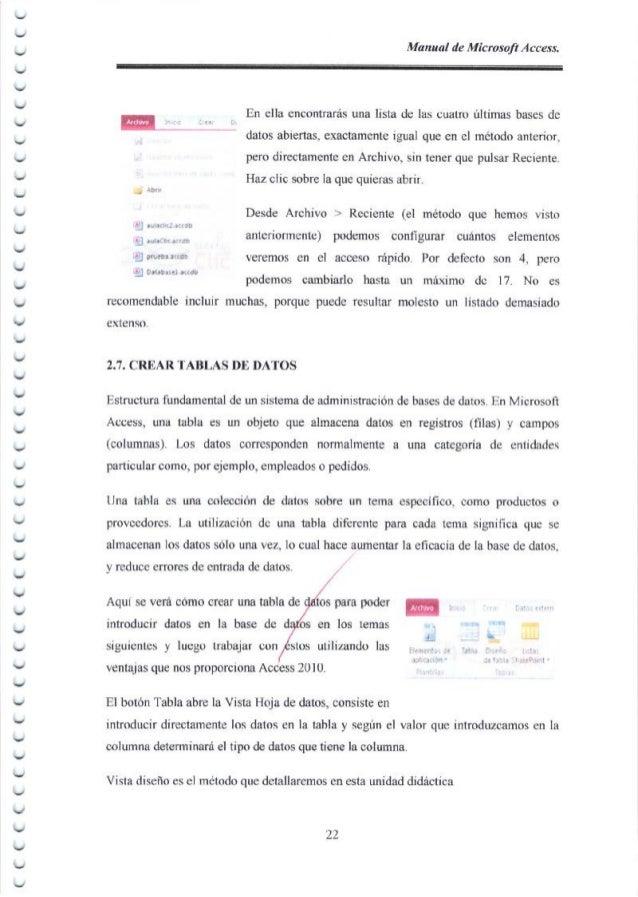 ︶   ︶ Manual de Microsoft Access. En ella encontrar6s rma lista de las cuatro ultimas bases de - i: . datos abiertas, ex...