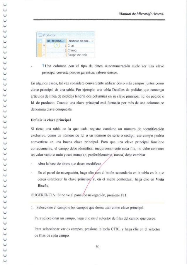Manual de Microsoft Access, _」 ‐ Id, (E qrr(l... - llo(I6re de pro... - ■Chal 2 Chang 3 SIЮ pe do an` - l Una columna con ...