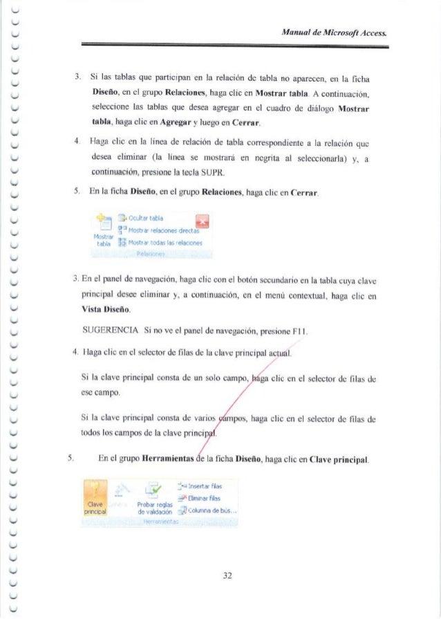 ︶ ︶ ︶ Manaal de Microsoft Access. 3 4 5 Si las tablas que participan en la relaci6n de tabla no aparecen, en la ficha Dise...