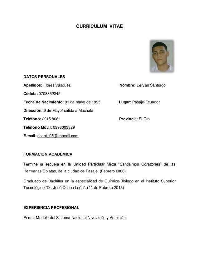 Modelo De Curriculum Vitae De Una Enfermera Tecnica  Modelos De Resume