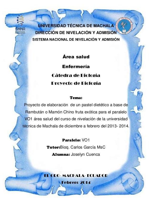 UNIVERSIDAD TÉCNICA DE MACHALA DIRECCIÓN DE NIVELACIÓN Y ADMISIÓN SISTEMA NACIONAL DE NIVELACIÓN Y ADMISIÓN  Área salud En...