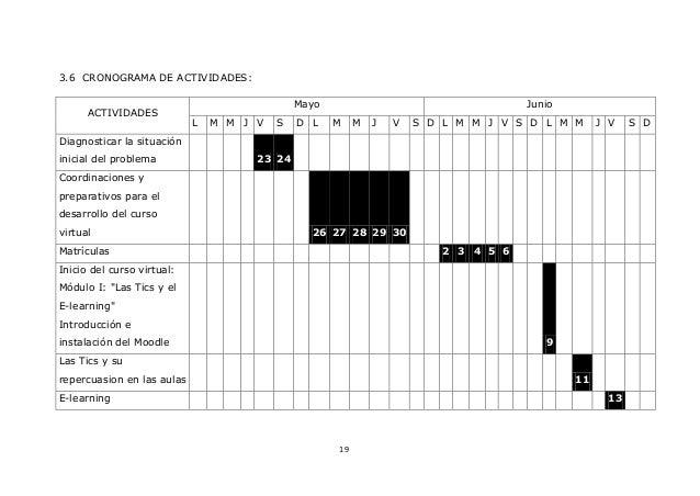 19 3.6 CRONOGRAMA DE ACTIVIDADES: ACTIVIDADES Mayo Junio L M M J V S D L M M J V S D L M M J V S D L M M J V S D Diagnosti...